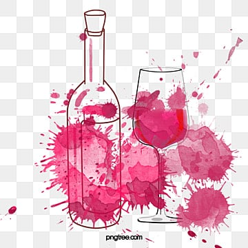 Watercolor Splashing Wind Red Wine Bottles and Cups, Spatter, Magnificent, Coloured Drawing PNG and PSD