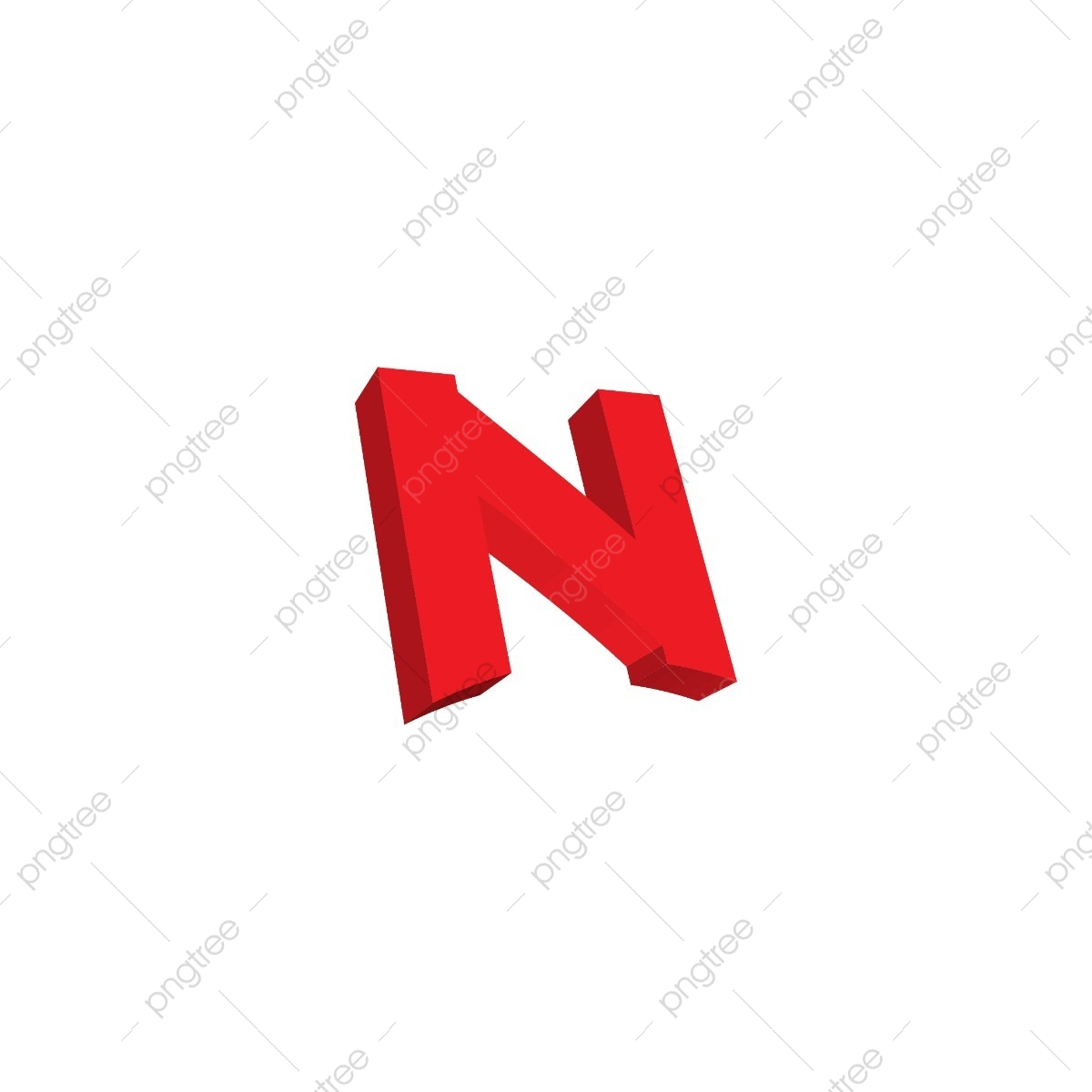 3d Letter N Initial Logo Icon Template Vector Red 3d N