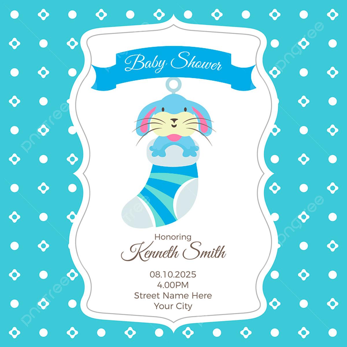 استحمام الطفل بطاقة قالب مع الأرنب Baby Shower Invitation