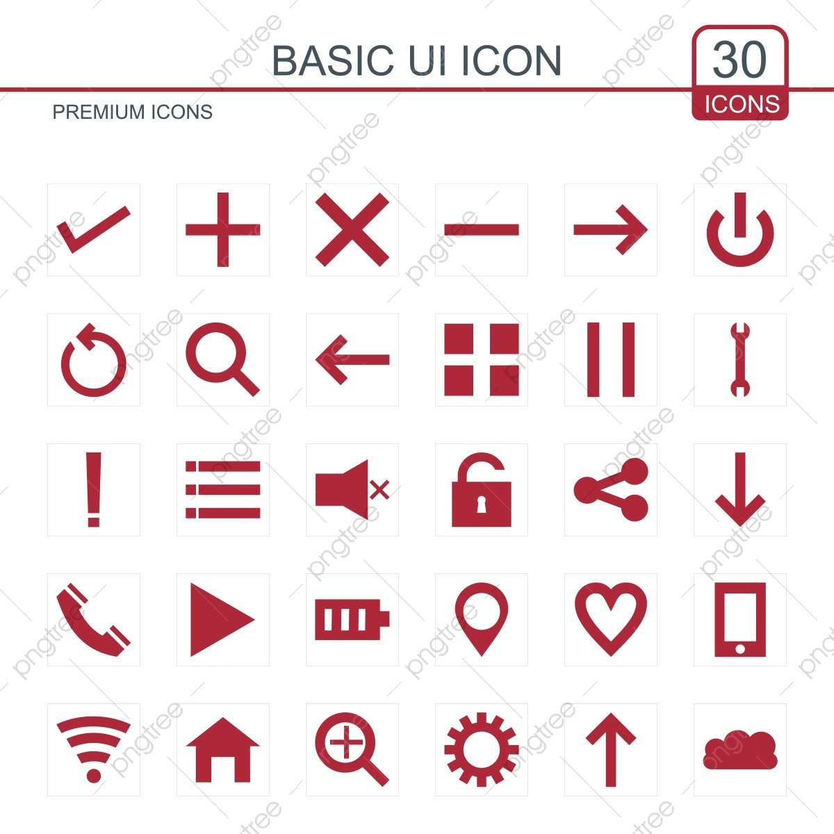 basic ui icons set red ui icons red icons basic icons png and vector with transparent background for free download https pngtree com freepng basic ui icons set red 3545931 html