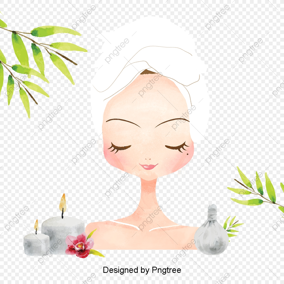 Beautiful Cartoon Lovely Hand Painted Beauty Beauty Skin Care Spa Health Aesthetic Cartoon Hand Painted Png Transparent Clipart Image And Psd File For Free Download