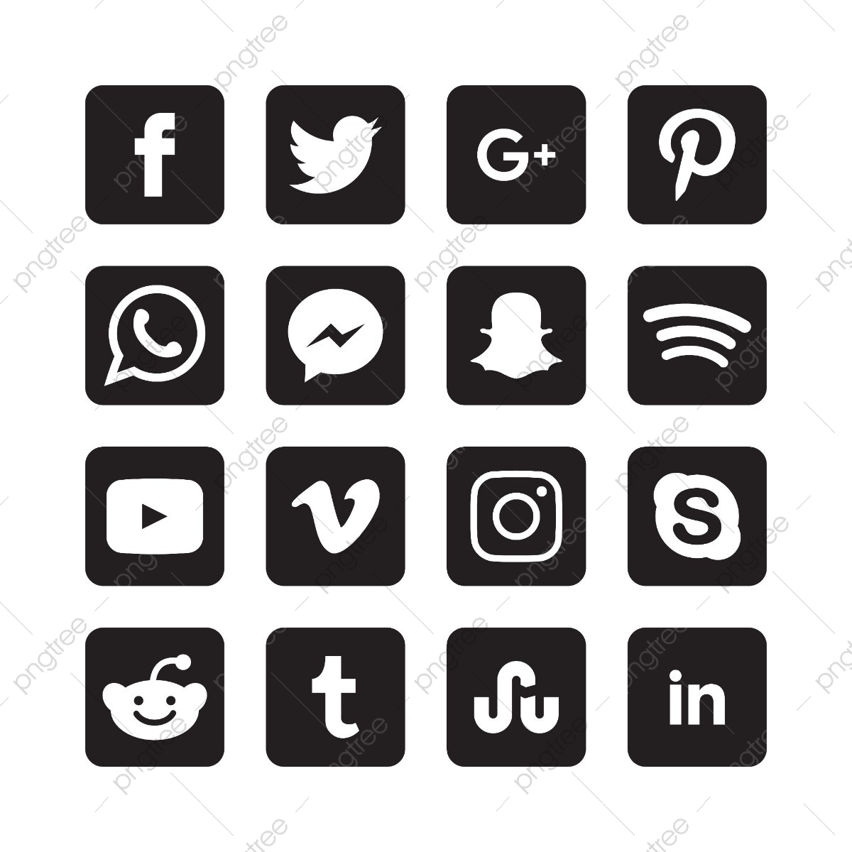 Black And White Square Social Media Icons, Abstract, App, Black PNG