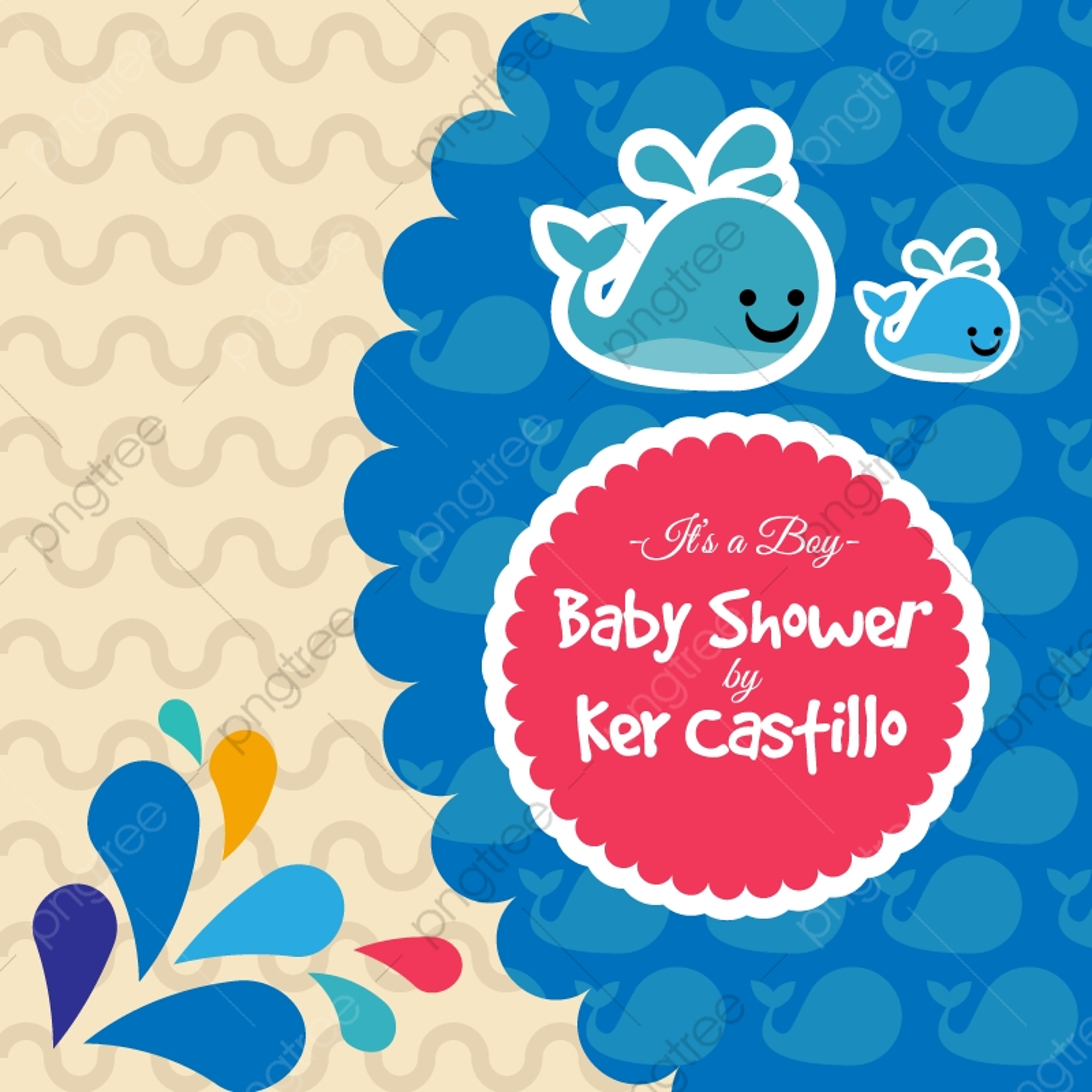 Tarjeta Azul Para Baby Shower Con Una Linda Ballena Tarjeta
