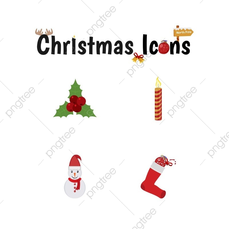 Christmas Icons Png.Christmas Icons Set Christmas Decoration Vector Png And