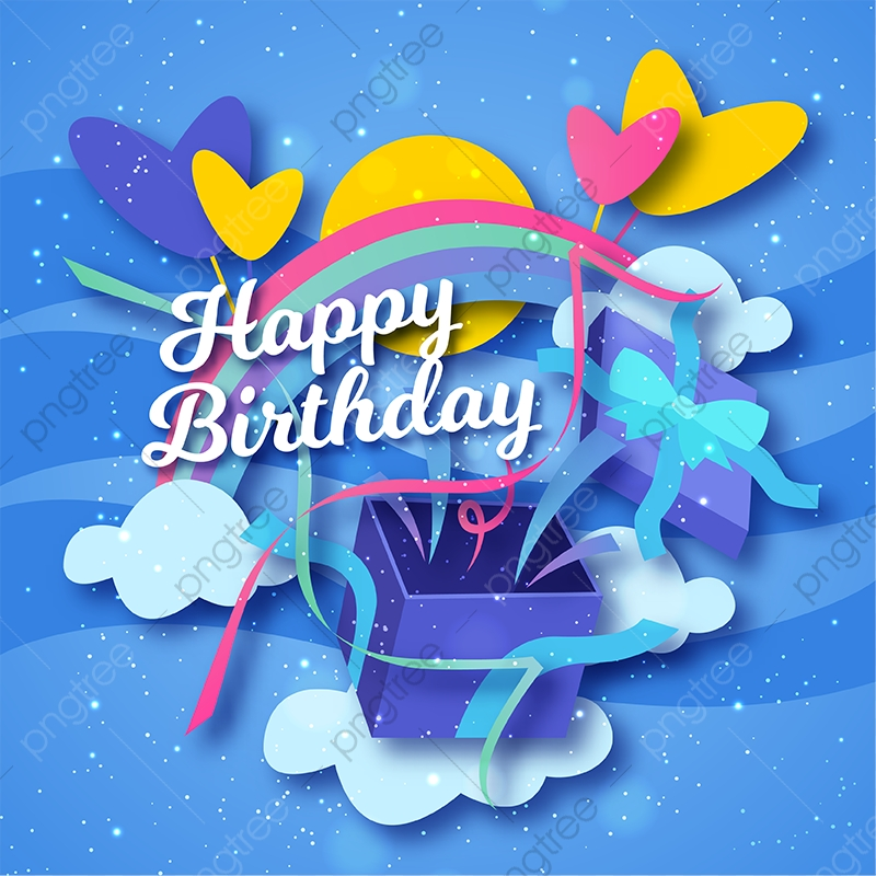 Cute Happy Birthday Greeting Card And Banner Illustration