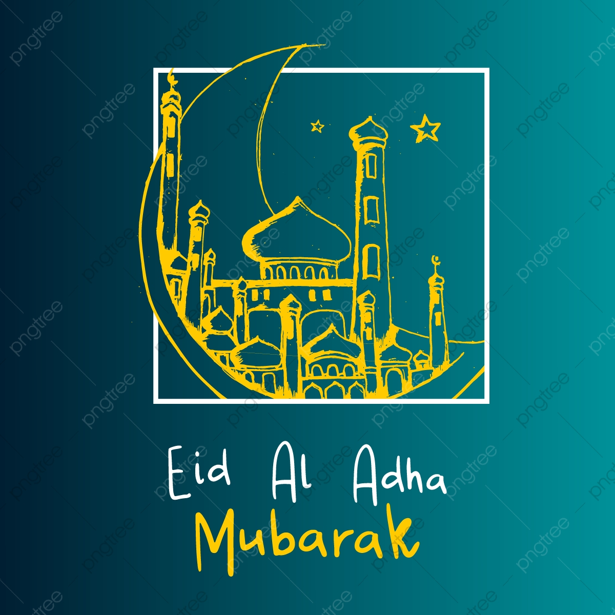 Eid Al Adha Mubarak Banner Background With Hand Drawn Mosque And