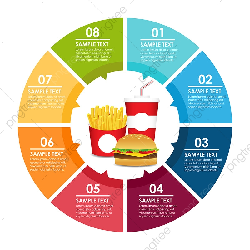 Fast Food Round Infographic Abstract Arrow Background Png