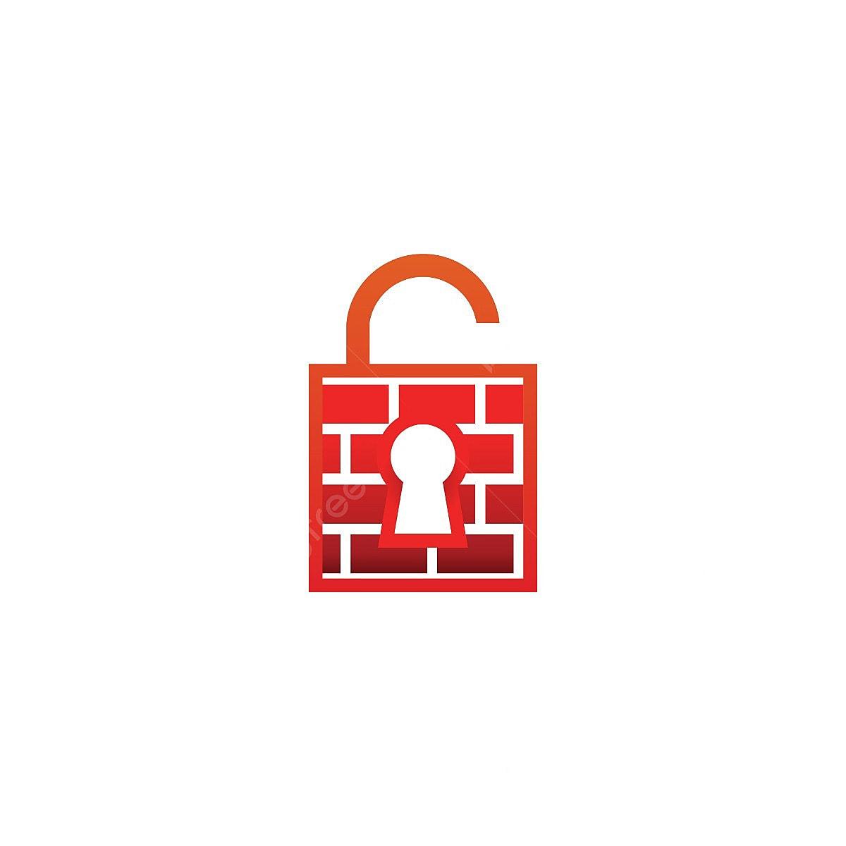 Cadeado Com Chave Firewall Aberta Logotipo Modelo Vector