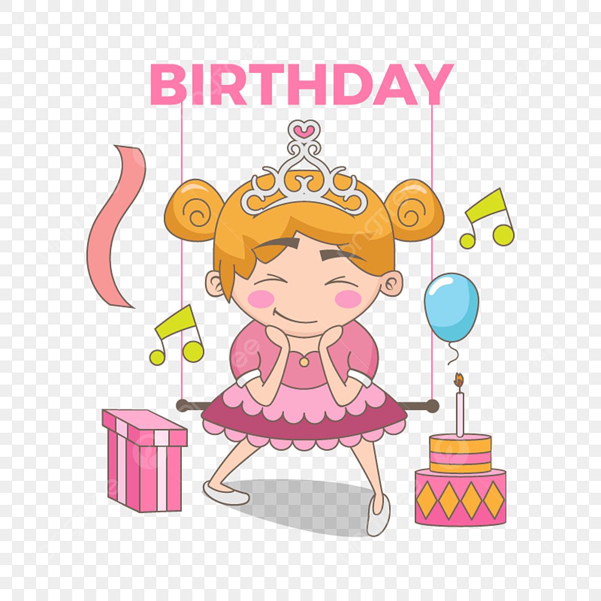 美しい王女の誕生日イラスト 誕生日プリンセスハッピーカードを背景に