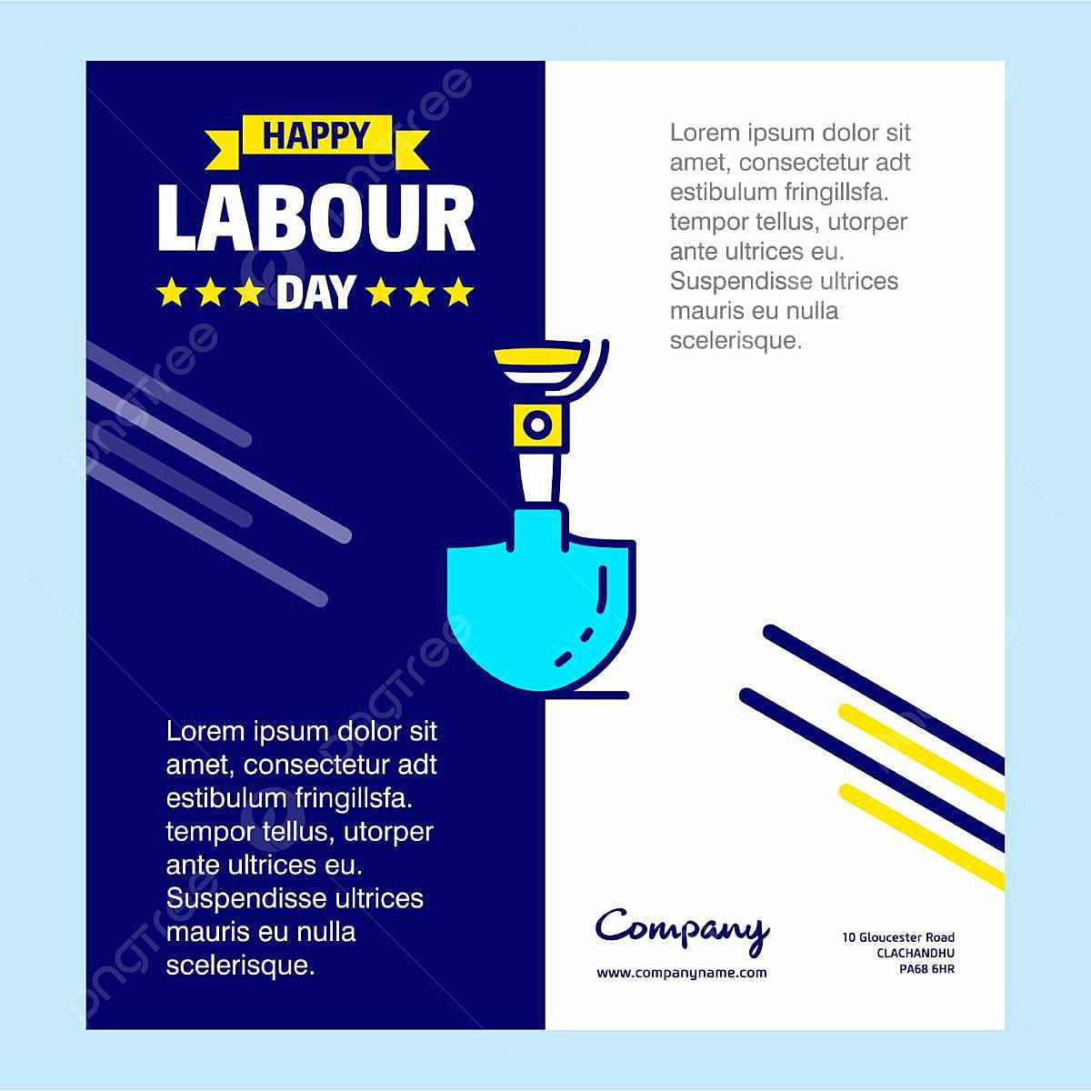 Feliz Dia Do Trabalho Com Desenho Azul E Amarelo Tema Vector Logo