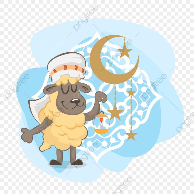 Illustration Of A Cute Baby Sheep With Arabic Islamic Eid Al Adha Eid Adha Sheep Png And Vector With Transparent Background For Free Download