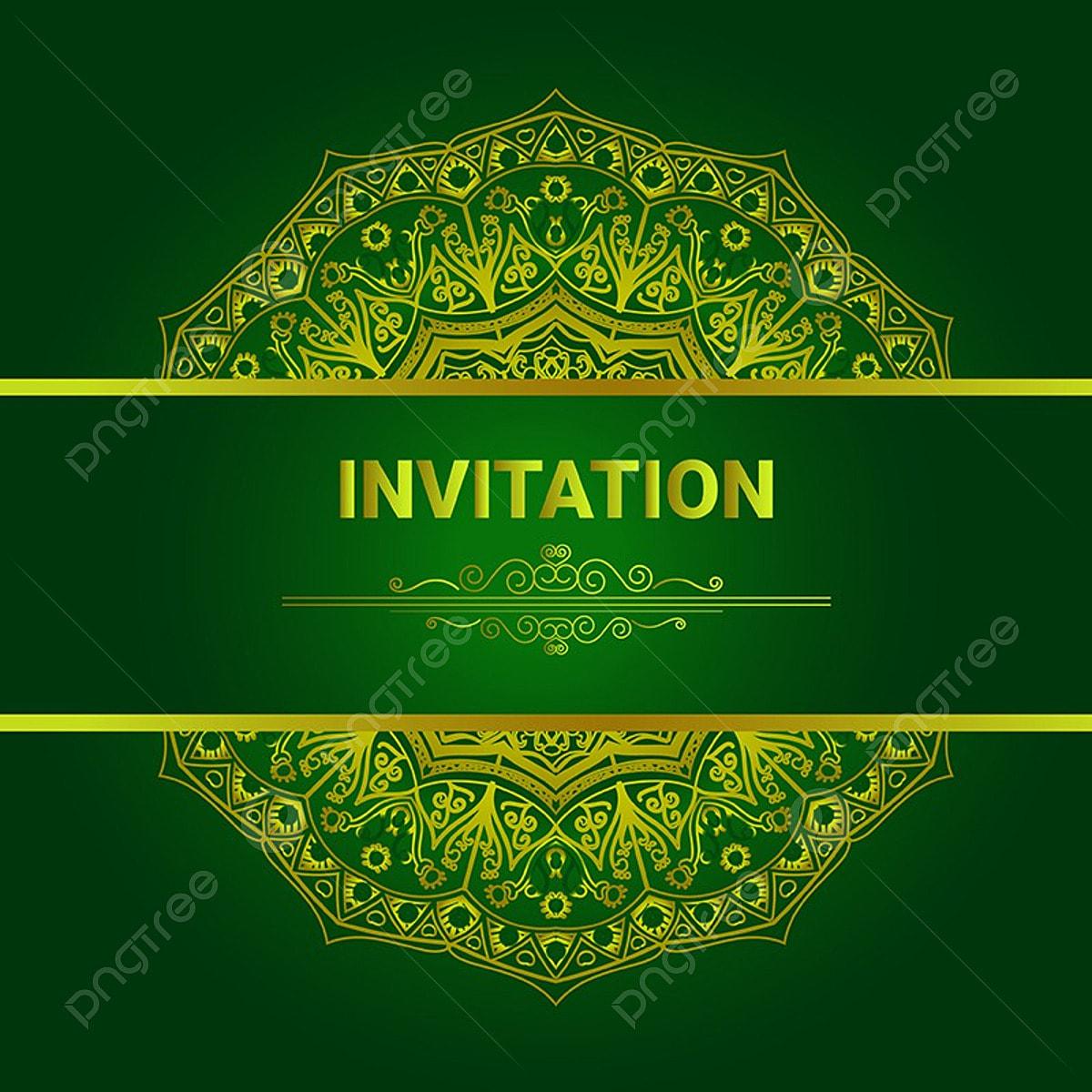 Invitation Card With Mandala Background 02 Mandala Green