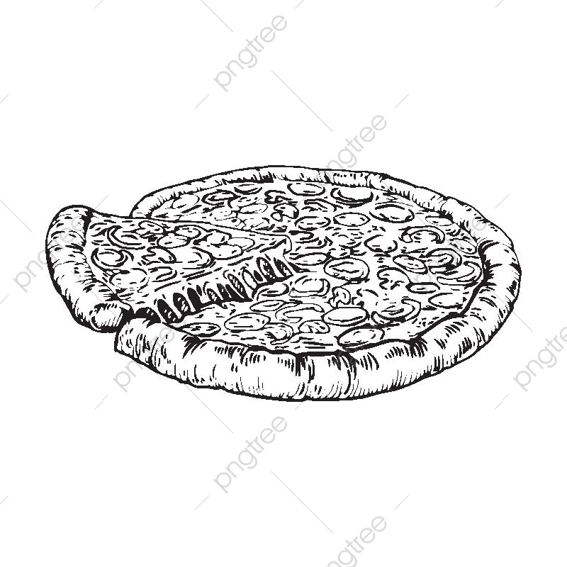 Pizza vintage. Isolated detail hand drawn