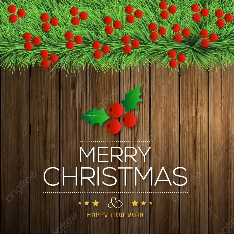Merry Christmas On Wooden Background With Red Berries Merry