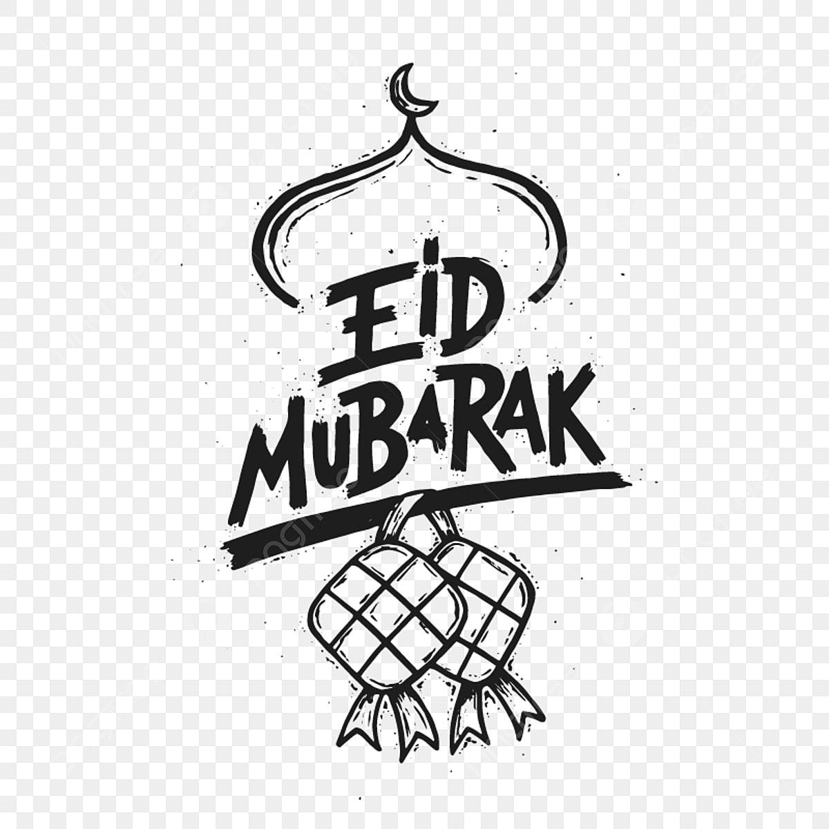 Modern Eid Mubarak Doodle Banner And Card Illustration