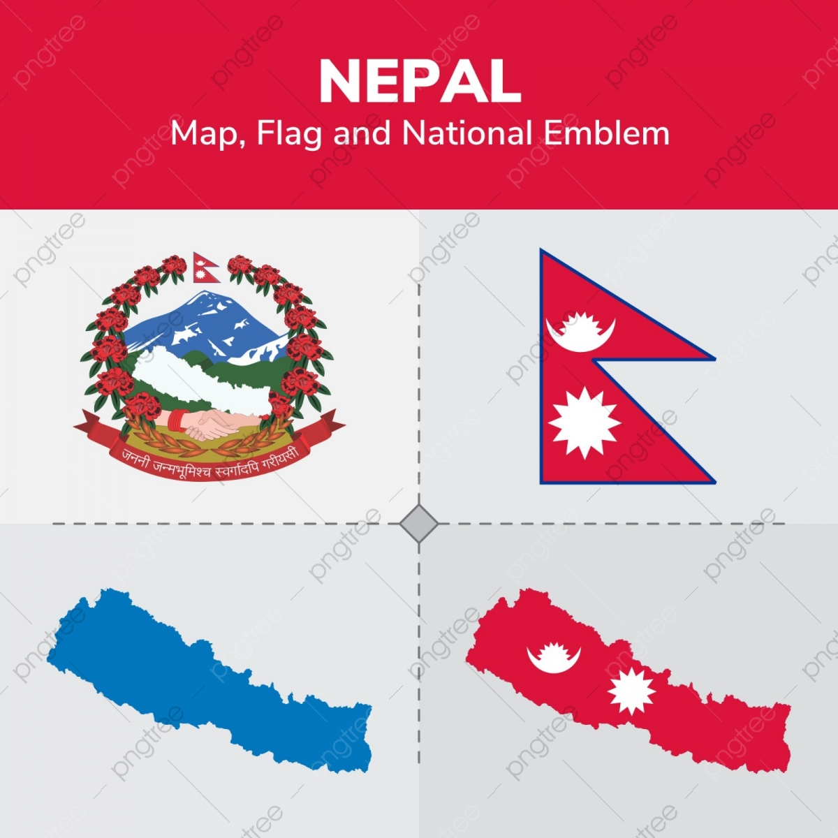 Nepal Map Flag And National Emblem, Continents, Countries ...
