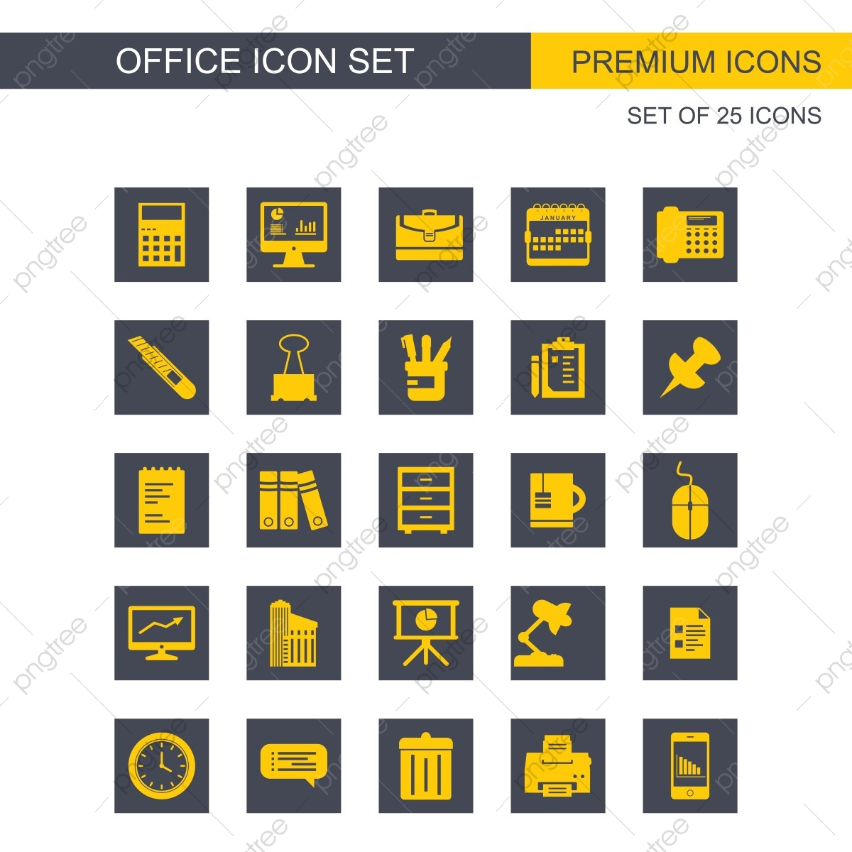 Office Icons Set, Icon, Office, Icons PNG and Vector with