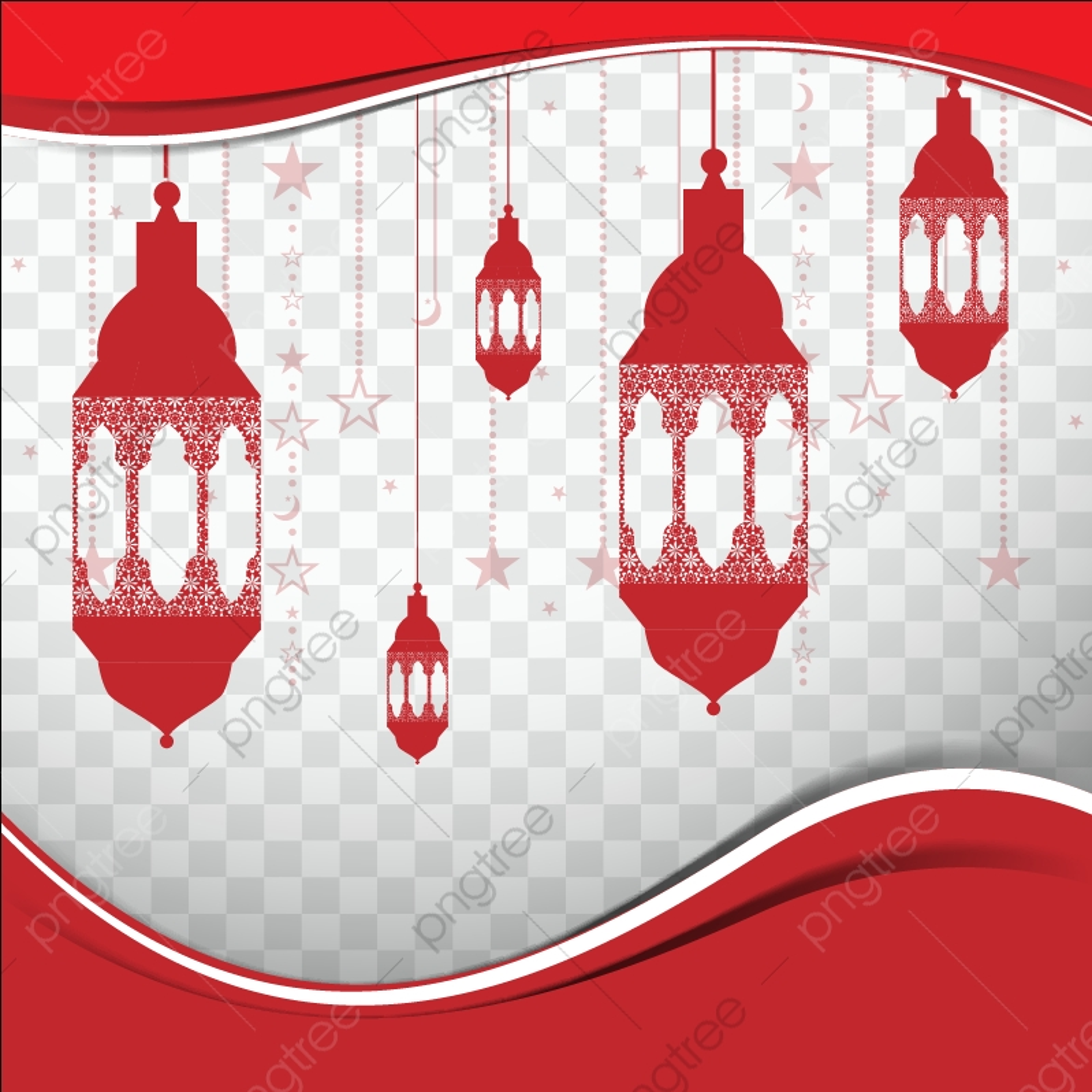 Red Design With Lanterns For Islam Ramadan Kareem, Abstract, Islamic