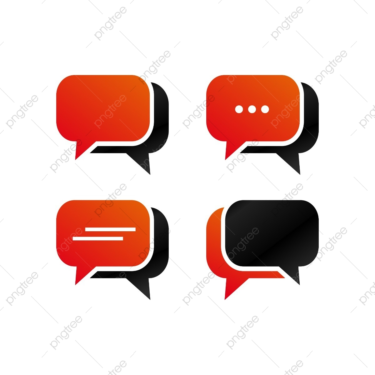 Rounded Rectangle Bubble Chat Icon Template Pack Chat Icons Template Icons Bubble Icons Png And Vector With Transparent Background For Free Download