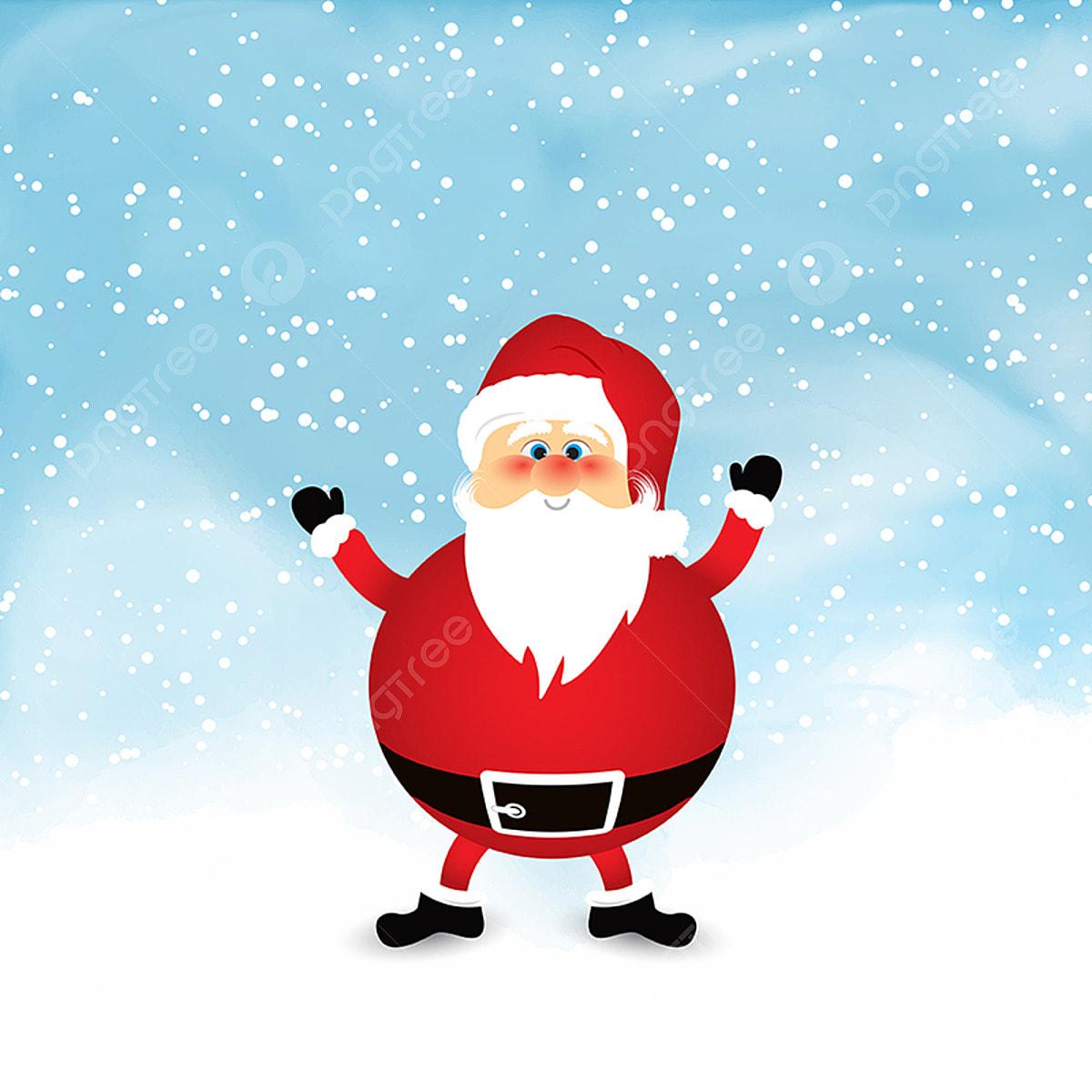 Papai Noel Na Neve Aquarela Fundo 0811 Santa Santa Claus