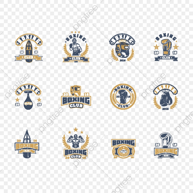 Set Boxing Badges Stickers Isolated On White , Boxing