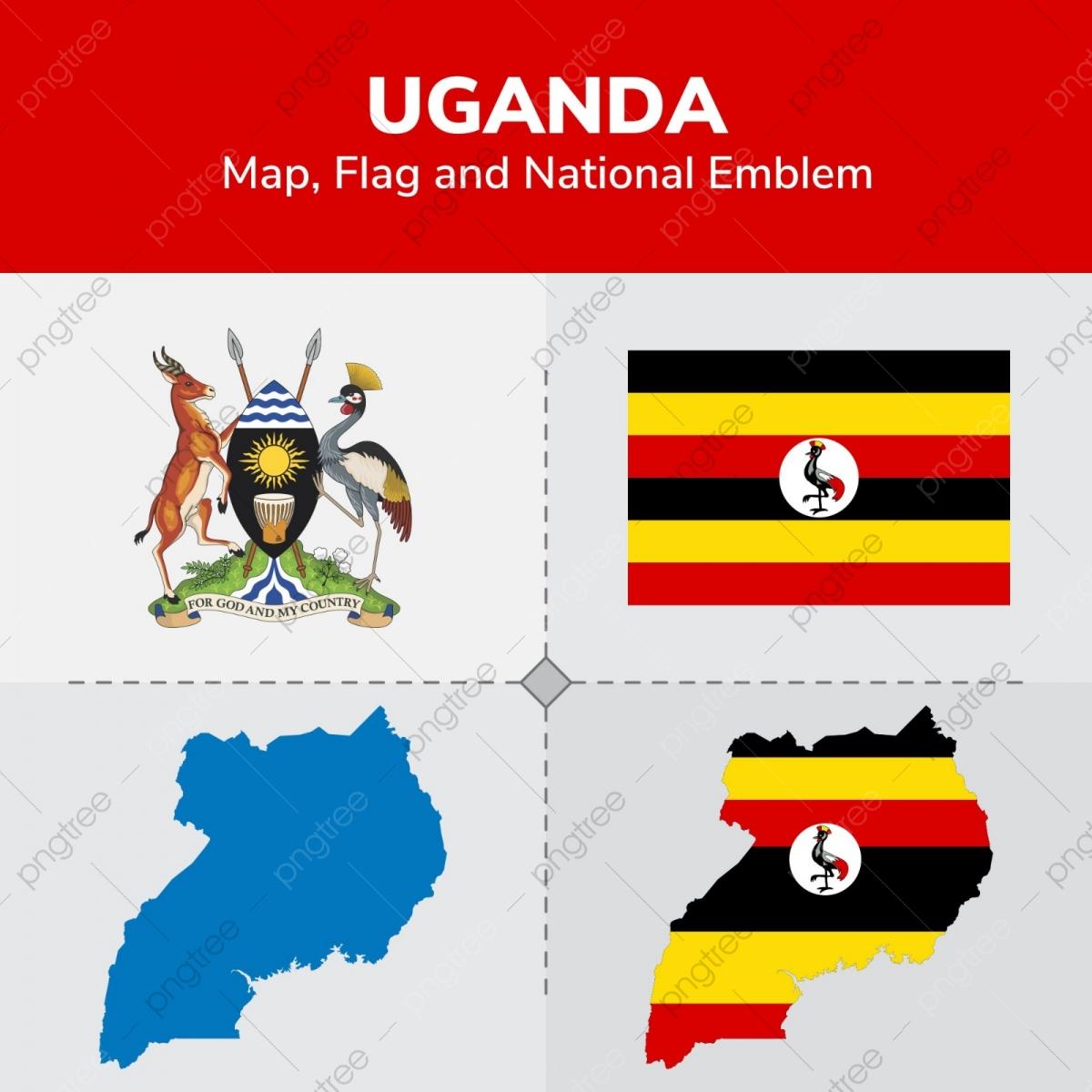 Uganda Map Flag And National Emblem, Continents, Countries