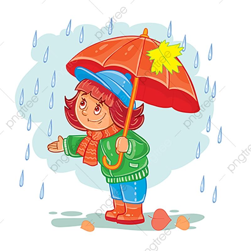 Vector Icône De Petite Fille Avec Un Parapluie Sous La Pluie