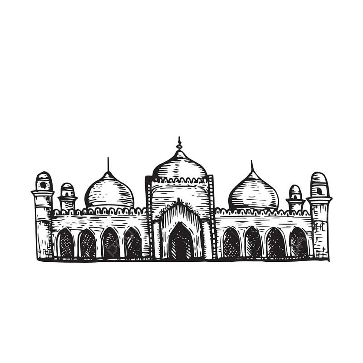 Vintage Tangan Lukisan Masjid Islam Lakaran Bangunan Masjid