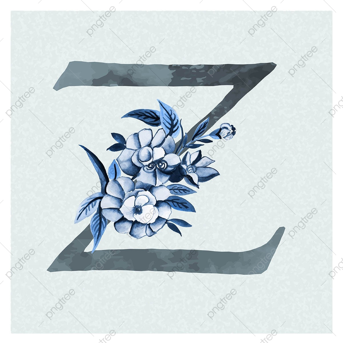 ألوان مائية الزهور الخلفية باللون الأزرق موضوع حرف زد ألوان مائية لون باللون Png والمتجهات للتحميل مجانا