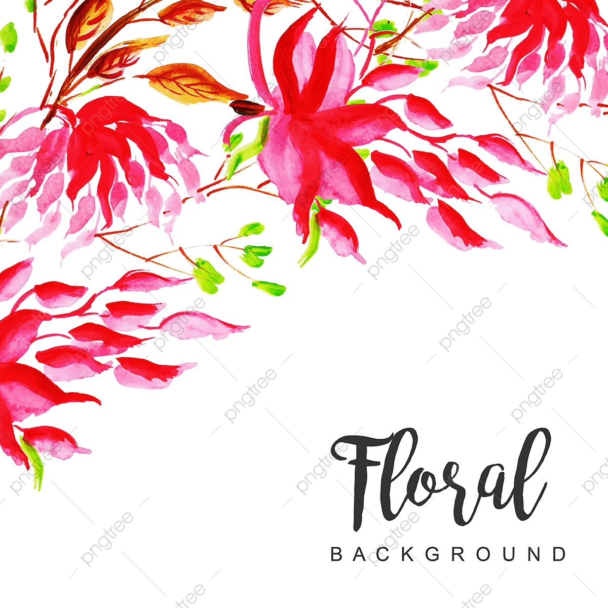 Watercolor Floral Frame Multi Purpose Background Watercolor