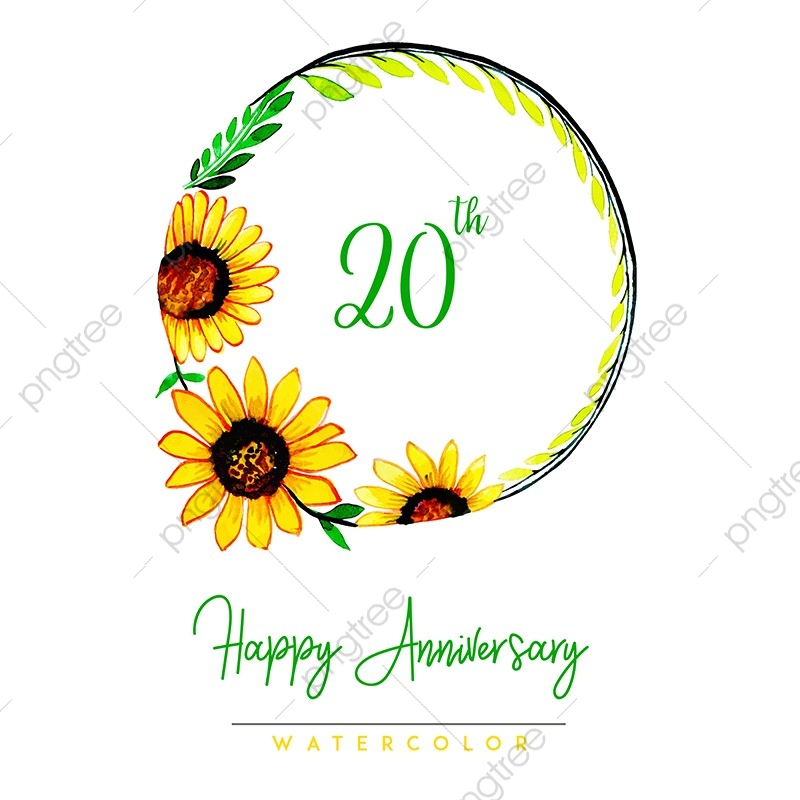 Watercolor Floral Happy Anniversary Wreath Background