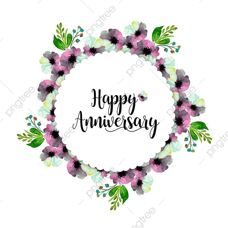 Watercolor Floral Wedding Anniversary Frame Colorful Watercolor Color Png And Vector With Transparent Background For Free Download