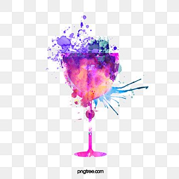 purple watercolor splashing red wine elements, Hand Painted, Watercolor, Gouache PNG and PSD