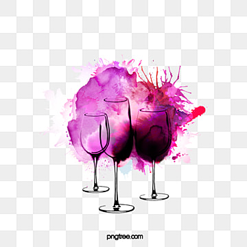 three purple watercolours splash red wine elements, Hand Painted, Watercolor, Gouache PNG and PSD