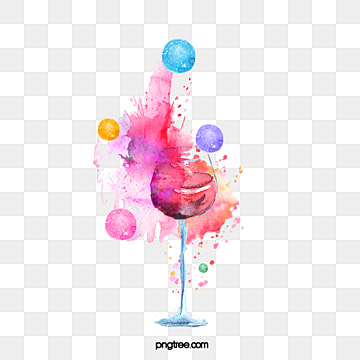 watercolor splashing spherical red wine elements, Circular, Hand Painted, Gouache PNG and PSD