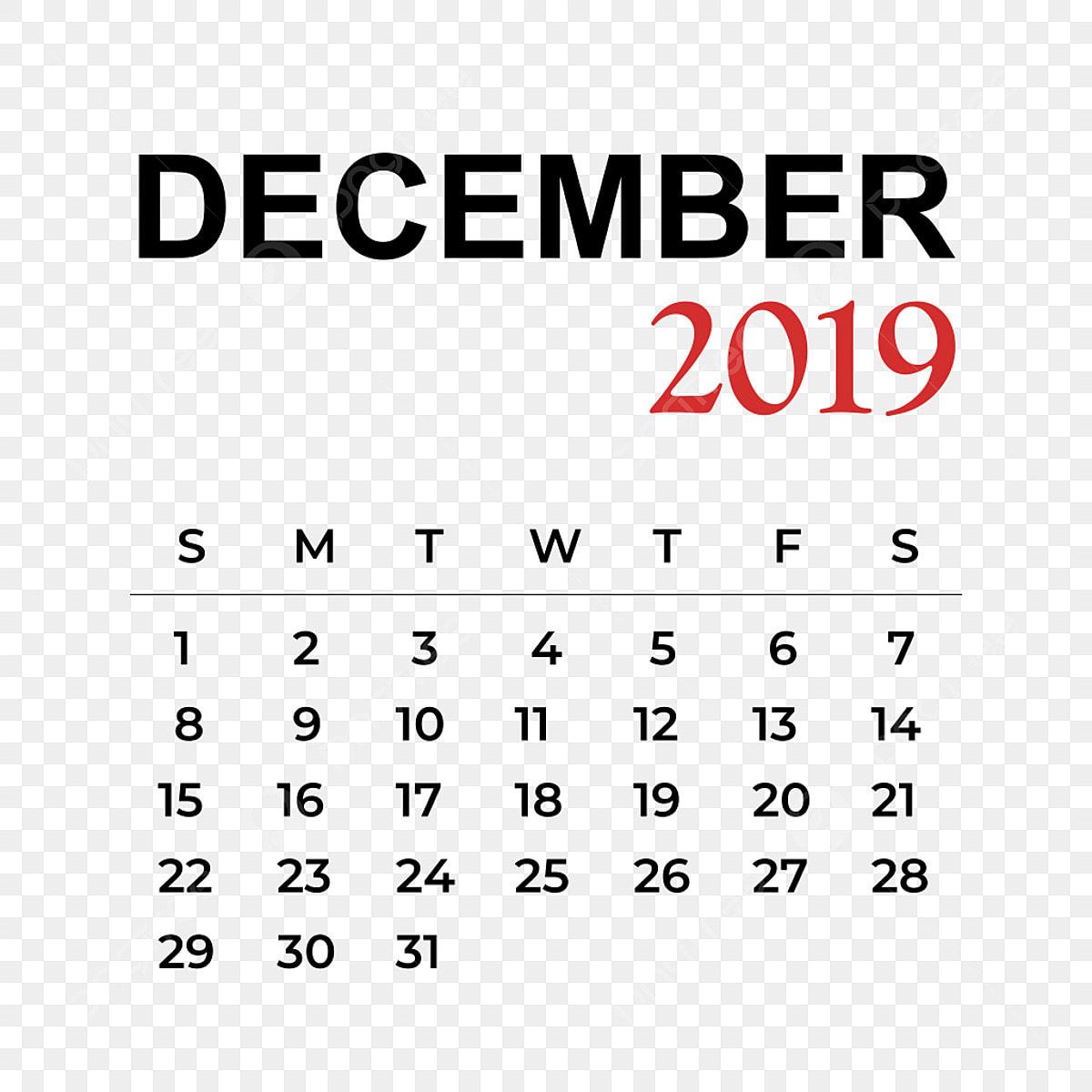 2019 Calendar December Month, Calendar, Year, Week PNG and ...