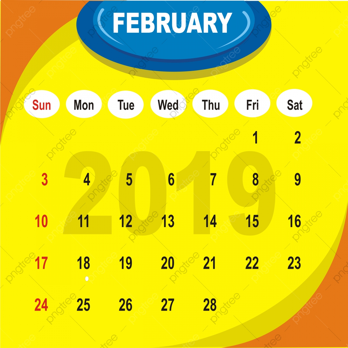 Coloration du calendrier lunaire 2019 fГ©vrier