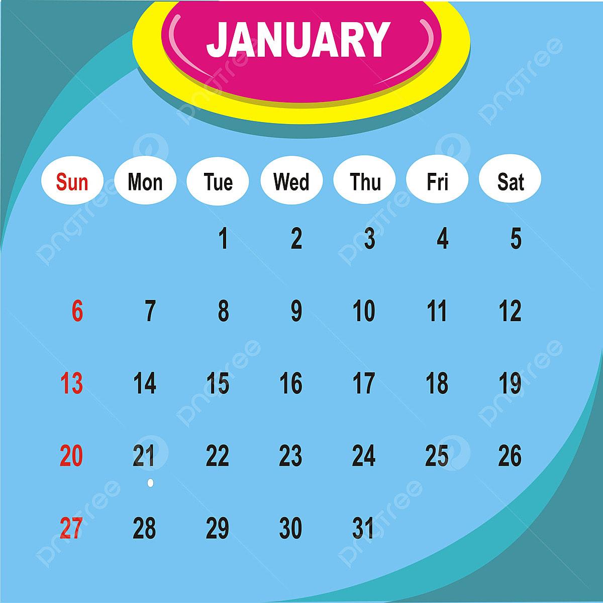 2019 تقويم شهر يناير ملصق ناقل التقويم قالب خلفية Png والمتجهات للتحميل مجانا