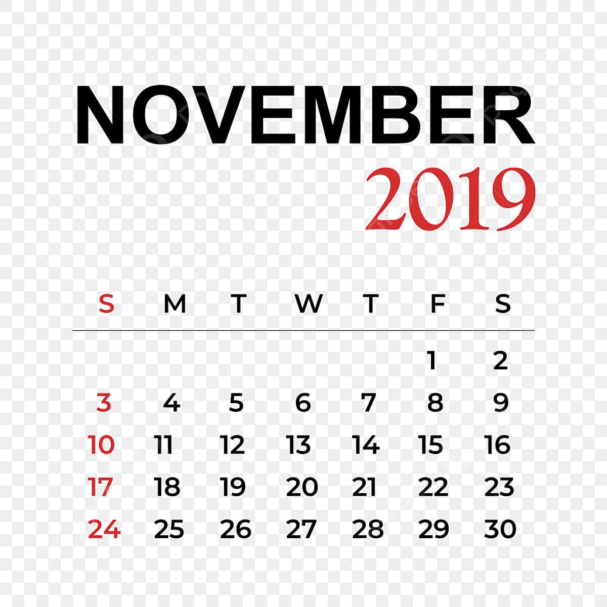 Calendario Noviembre 2019.Calendario Mes De Noviembre 2019 Calendario Vector Ano Png Y