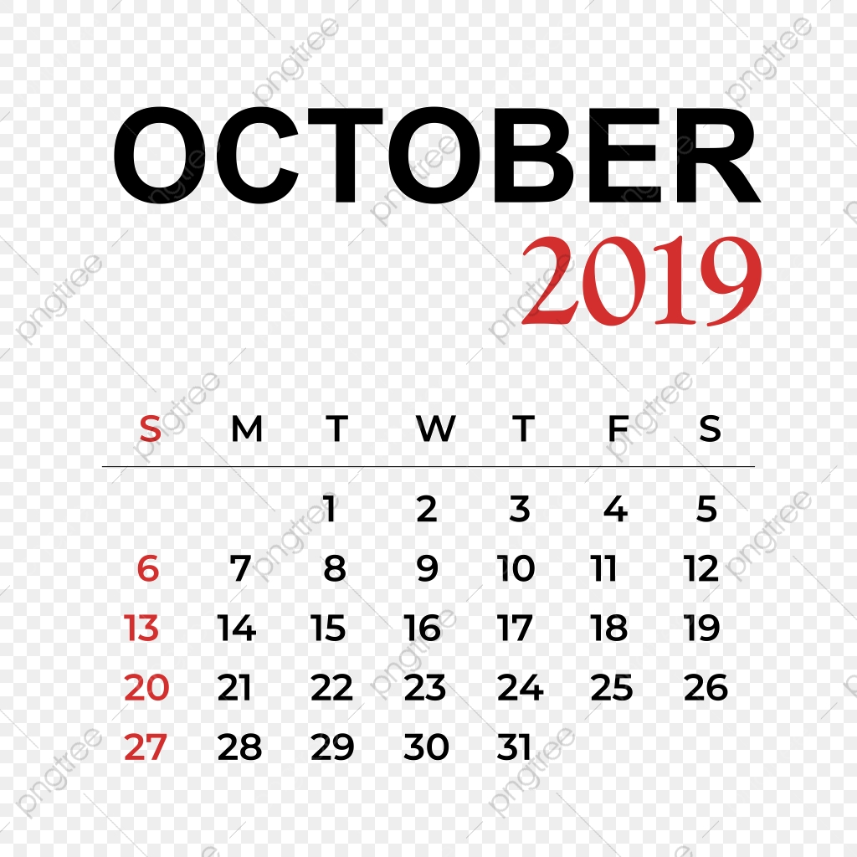 Octobre Calendrier 2019.Calendrier Du Mois De Octobre 2019 Calendrier Vecteur