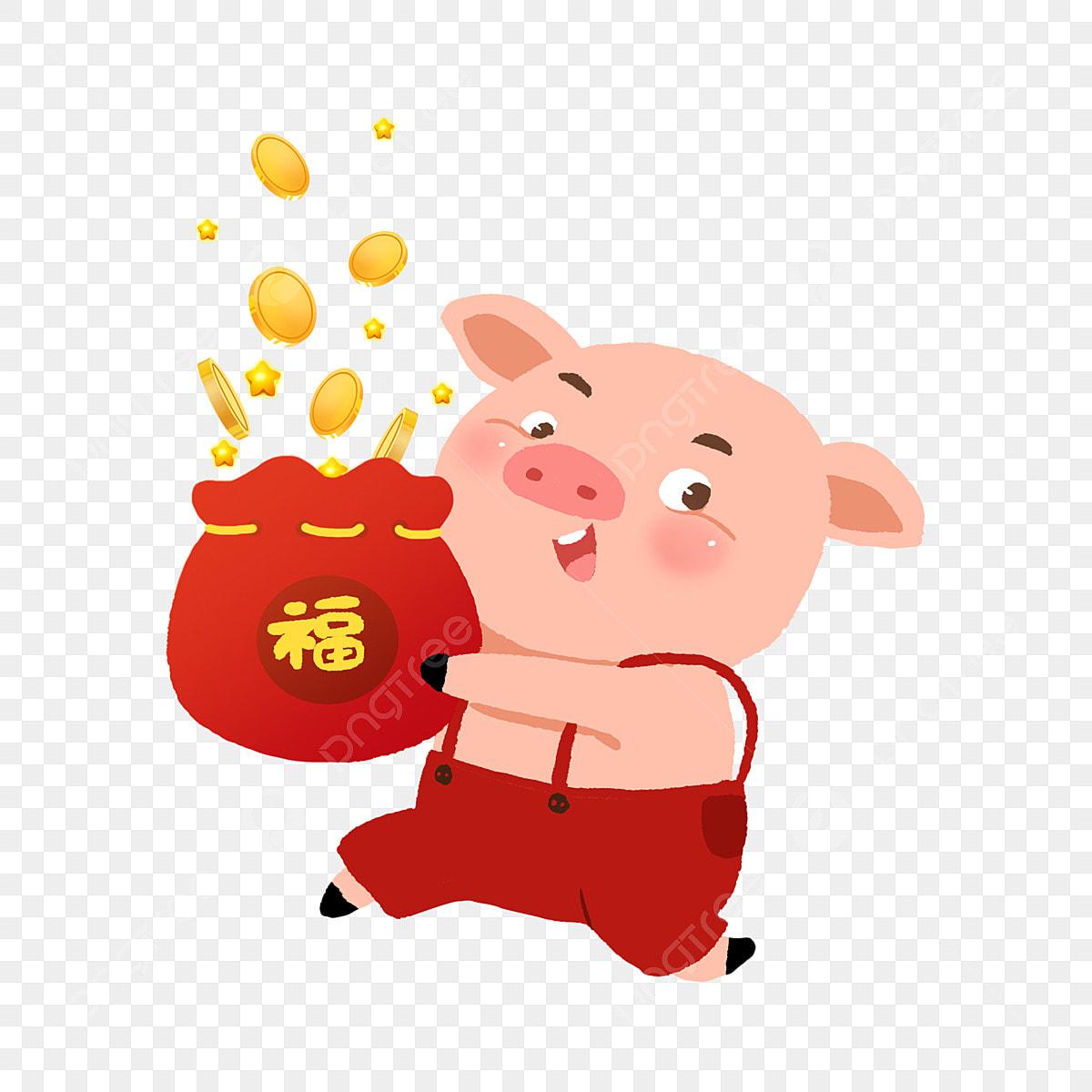 Anno del maiale fortunato borsa il maiale sta arrivando