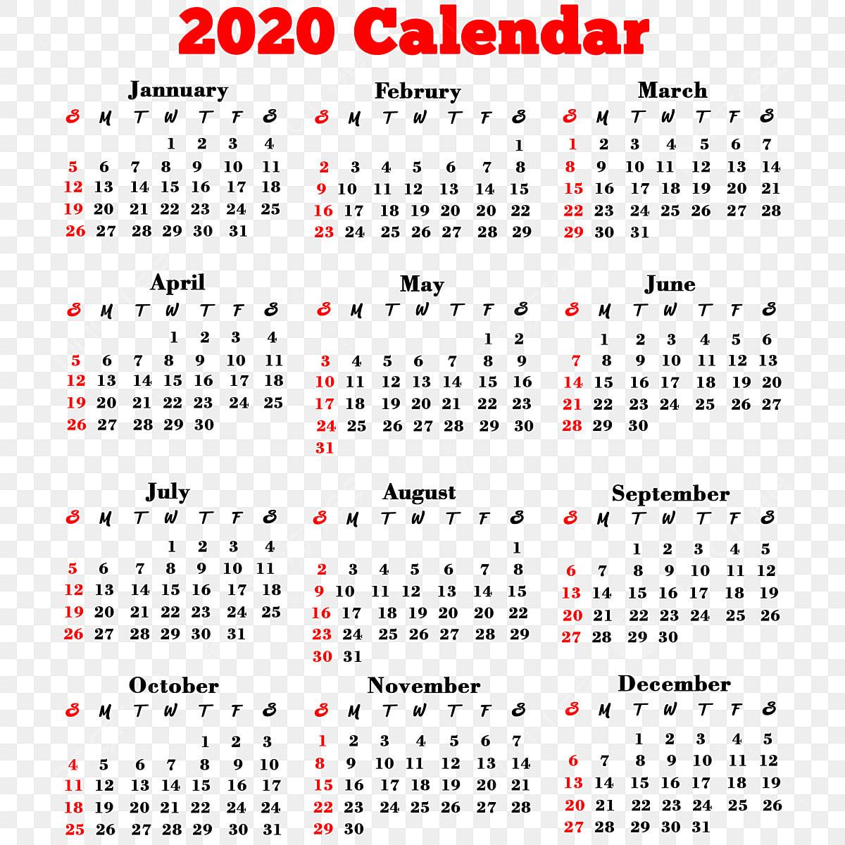 2020 Calendar Png, 2020 Calendar, 2020, Calendar PNG
