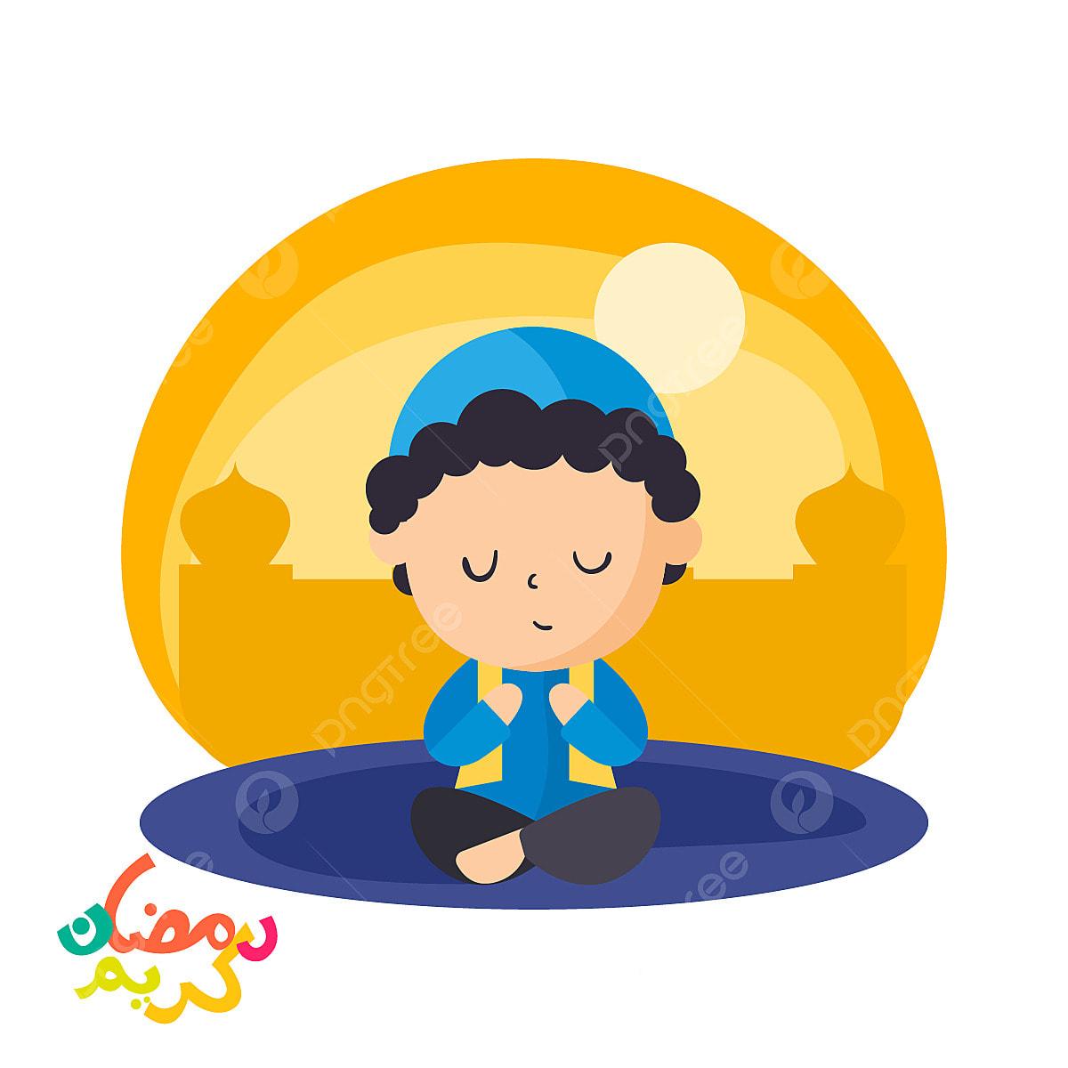islam adalah duduk berdoa vektor ilustrasi muslim muda