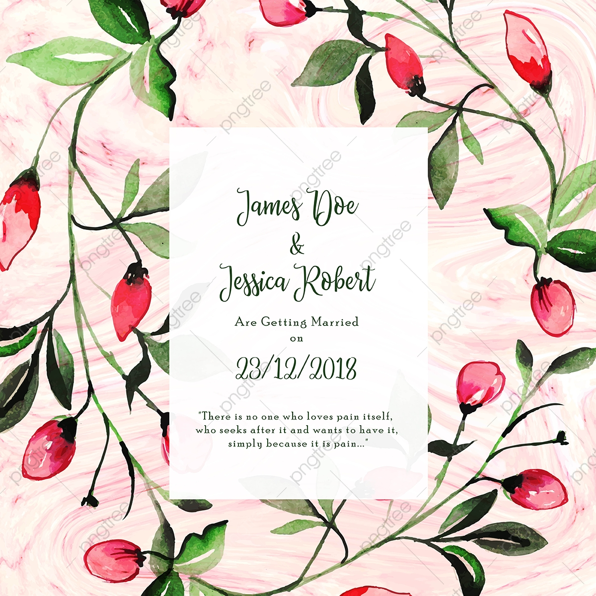 Abstract Marble Texture With Floral Wedding Invitation Card