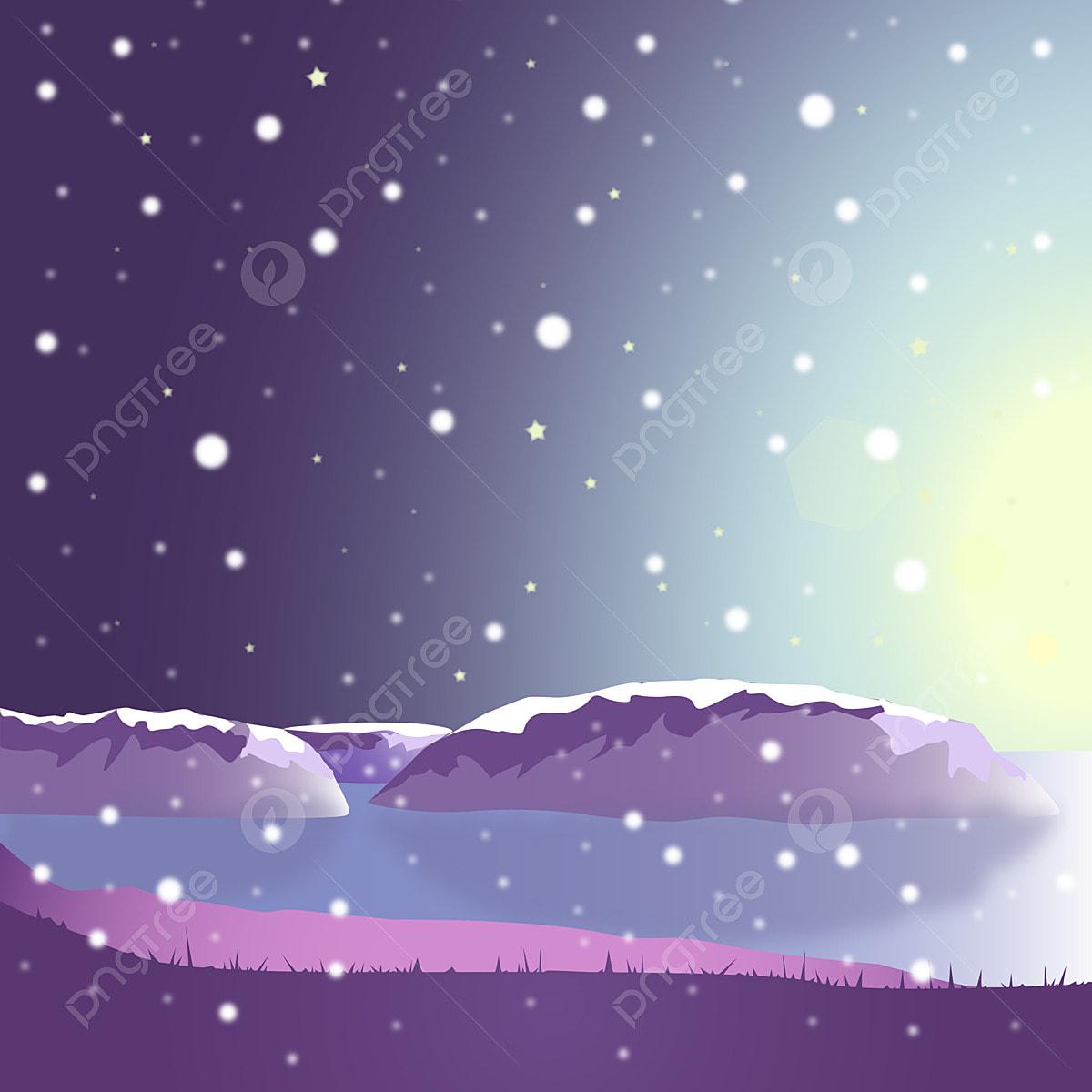 Estetikisme Ungu Hari Salji Angin Kartun Pemandangan Indah