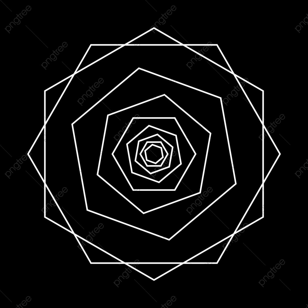 Ancient Geometry Abstract Rose Flower Mandala In Black And