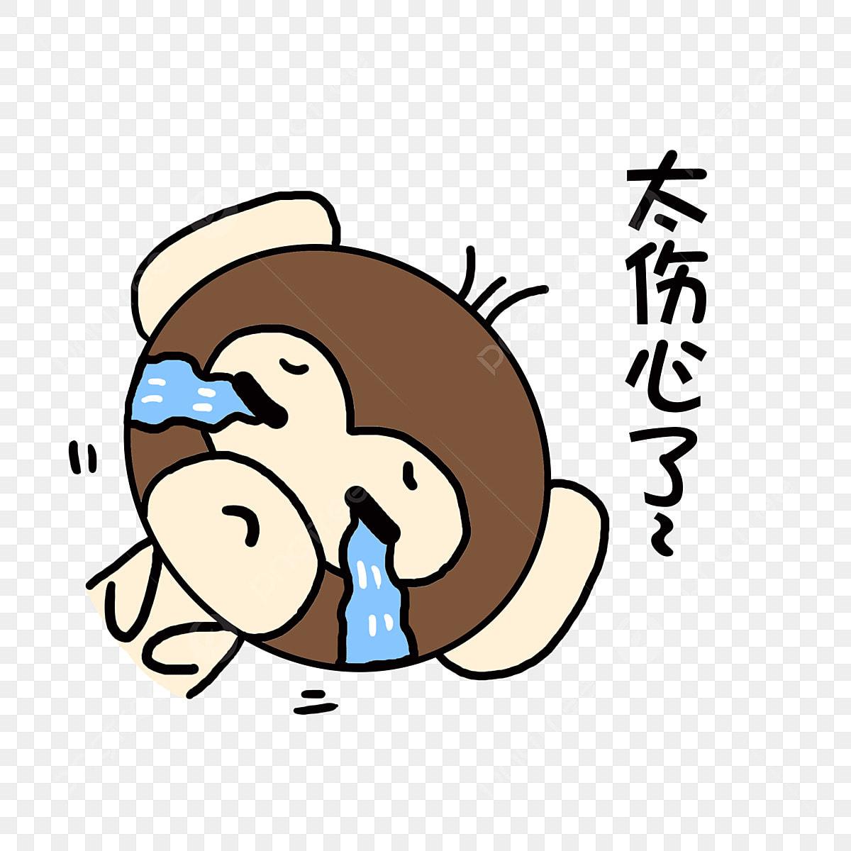 Animal Dibujado A Mano Lindo Mono Emoticon De Chat Mono
