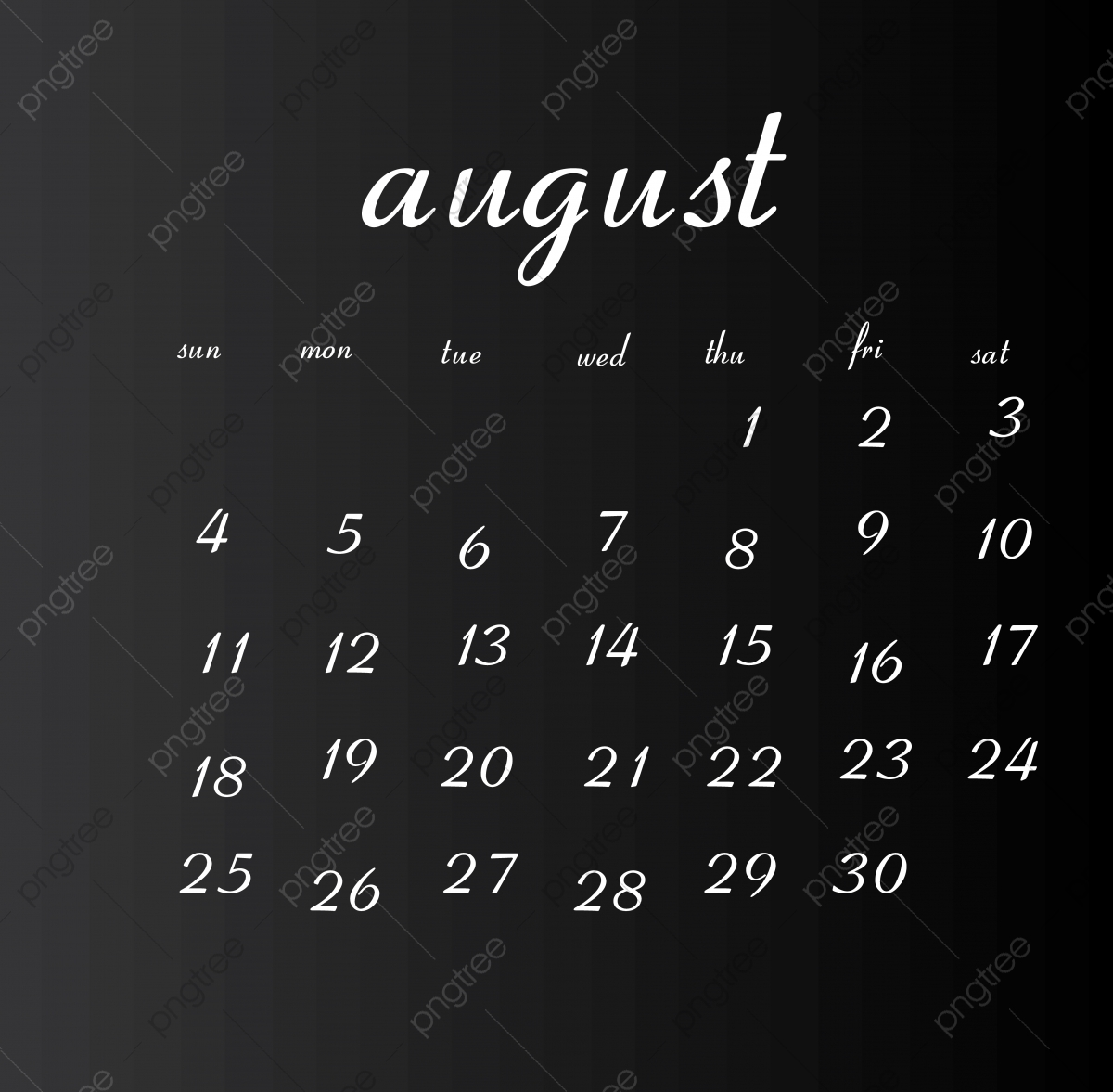 1979 Calendar August.August 2019 Month Calendar Clean White Png And Vector With