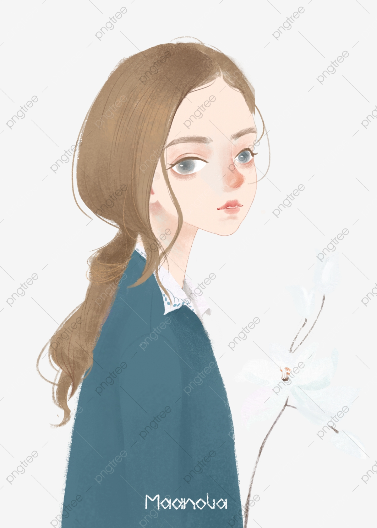 Beautiful Illustration Long Haired Girl Hand Drawn Beauty