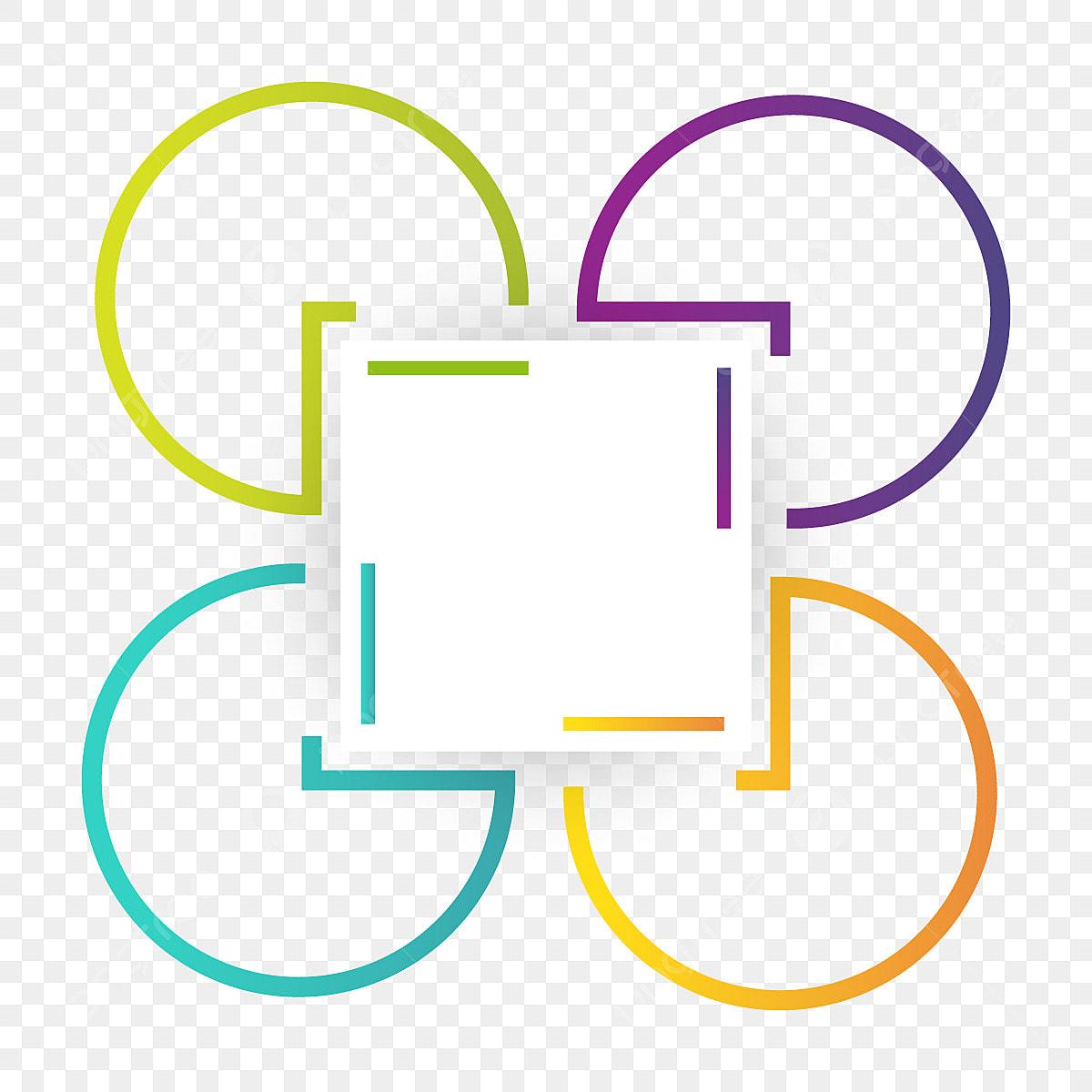 الحدود مع أربعة أشكال دائرية مجردة فن شكل فريم Png والمتجهات للتحميل مجانا